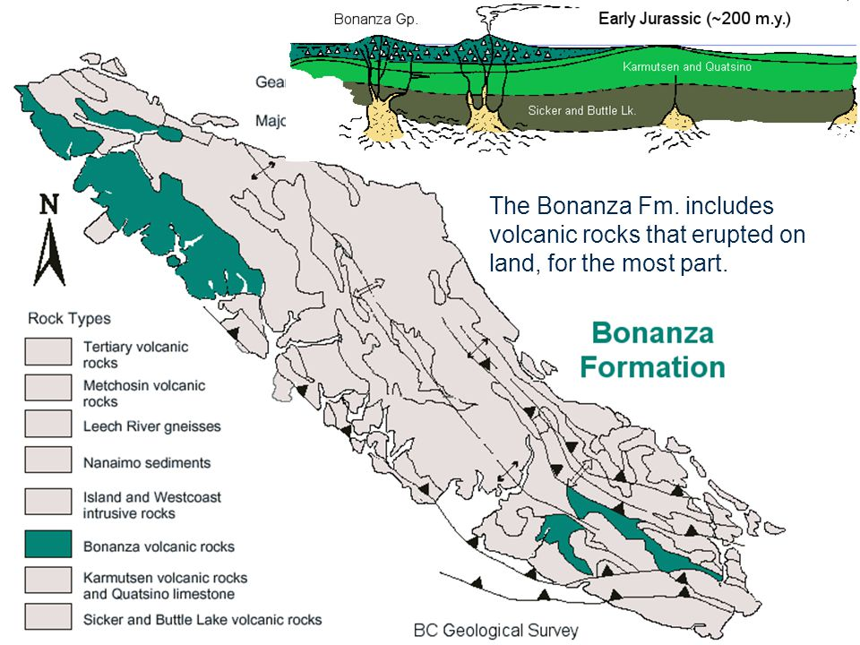 The Bonanza Fm. includes volcanic rocks that erupted on land, for the most part.