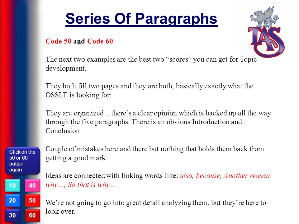 Series Of Paragraphs Code 50 and Code 60