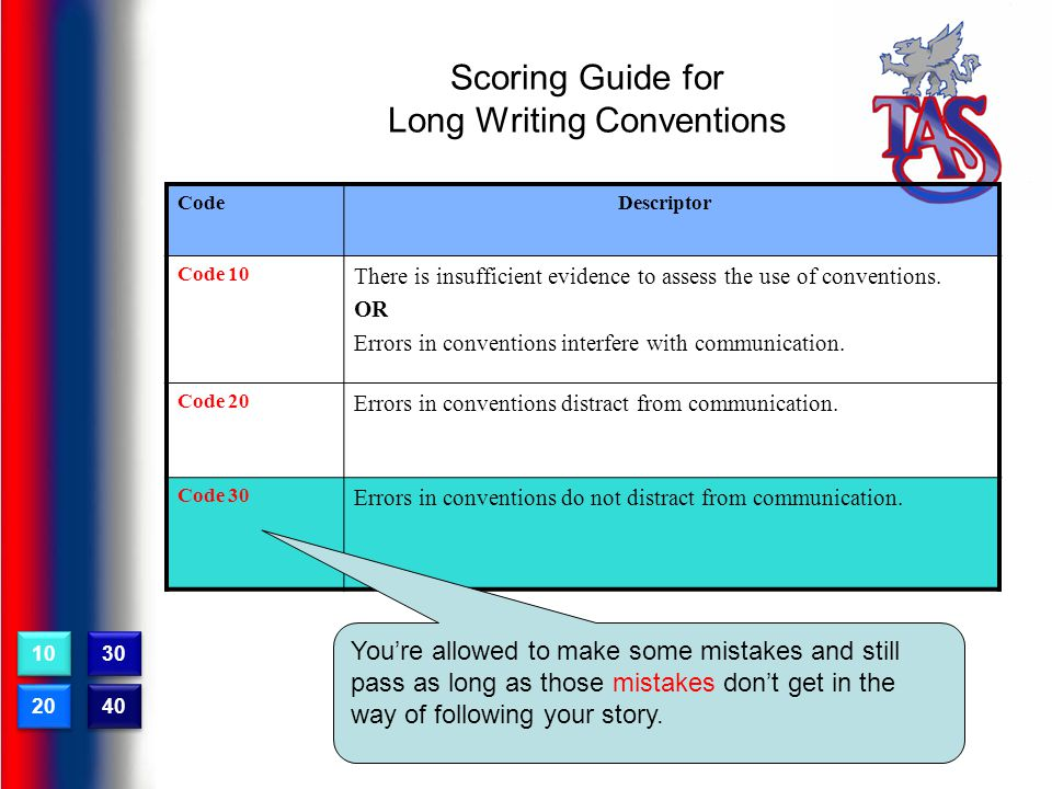 Scoring Guide for Long Writing Conventions