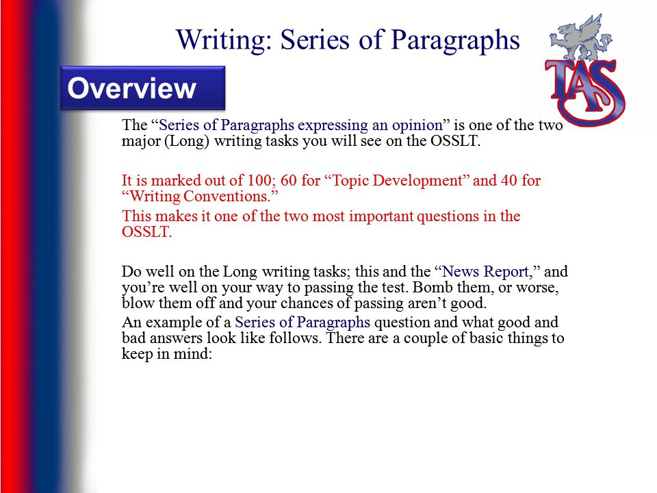 Writing: Series of Paragraphs