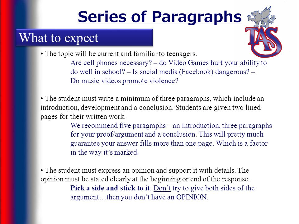 Series of Paragraphs What to expect