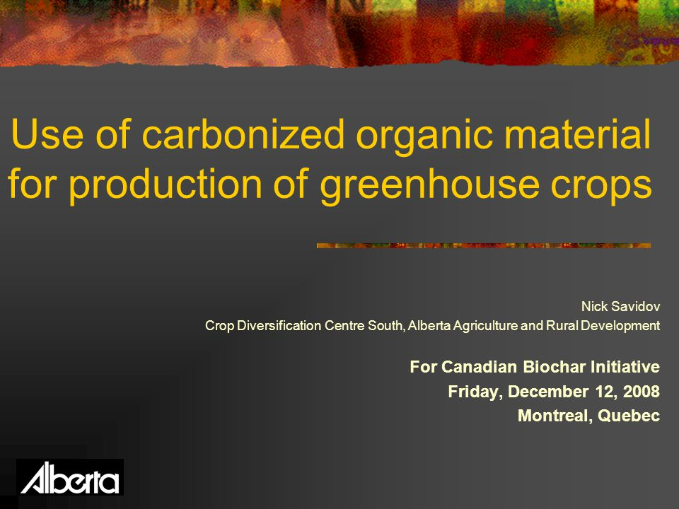 Use of carbonized organic material for production of greenhouse crops