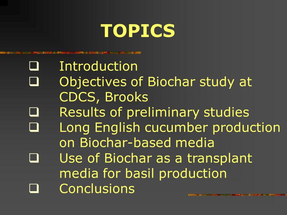 TOPICS Introduction Objectives of Biochar study at CDCS, Brooks