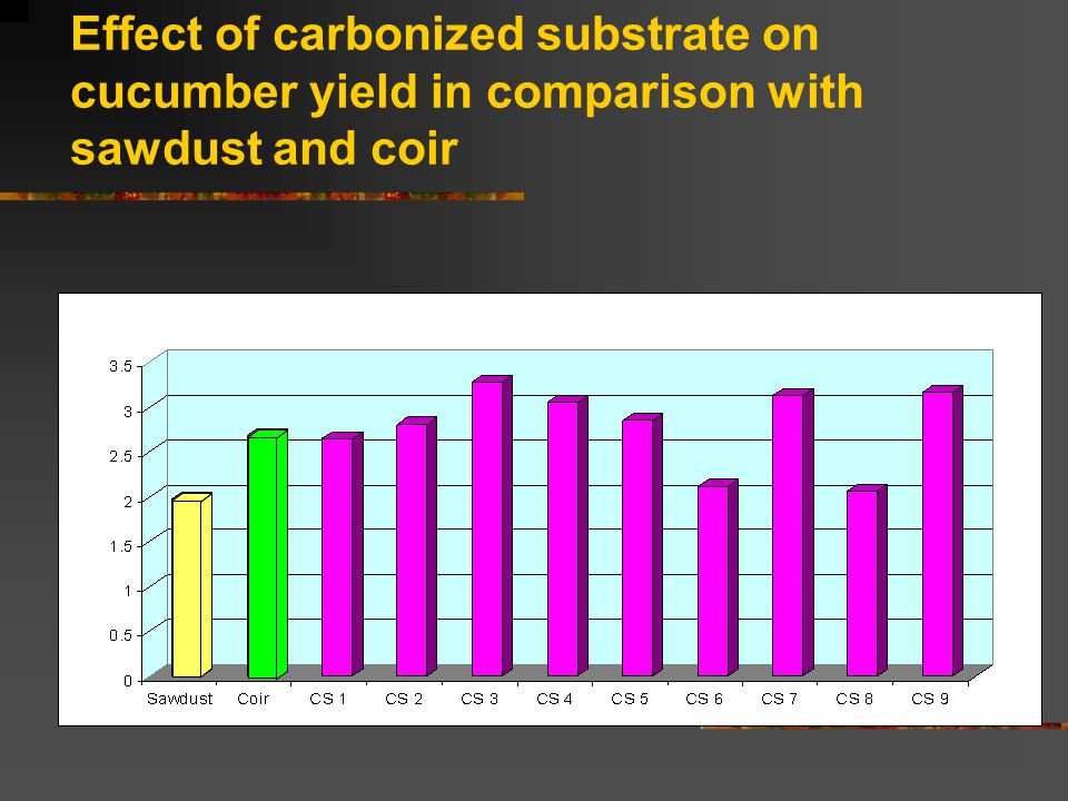 Effect of carbonized substrate on cucumber yield in comparison with sawdust and coir