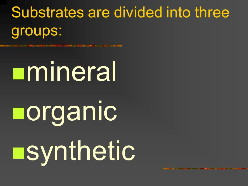 Substrates are divided into three groups: