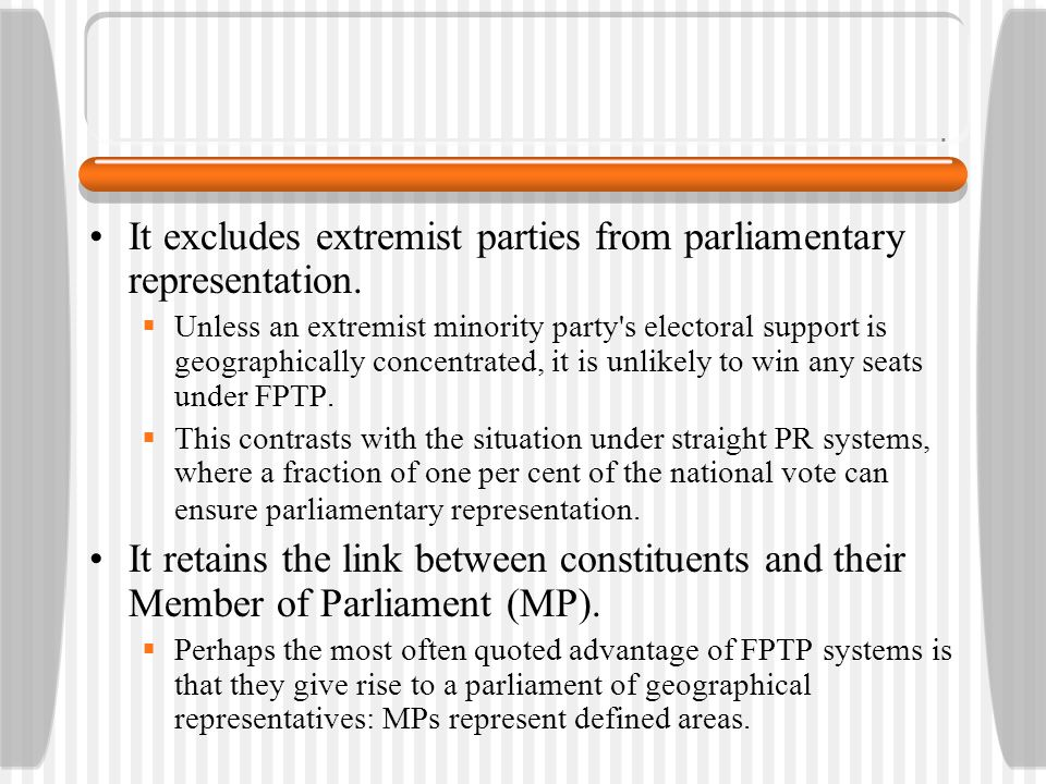 It excludes extremist parties from parliamentary representation.