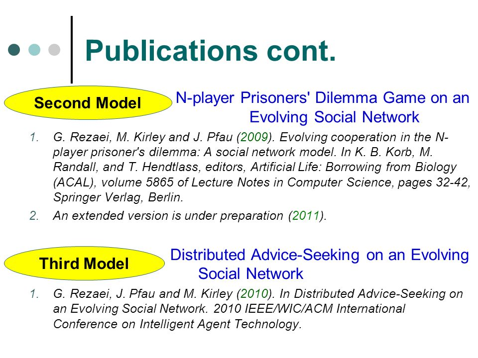 Publications cont. N-player Prisoners Dilemma Game on an Evolving Social Network.