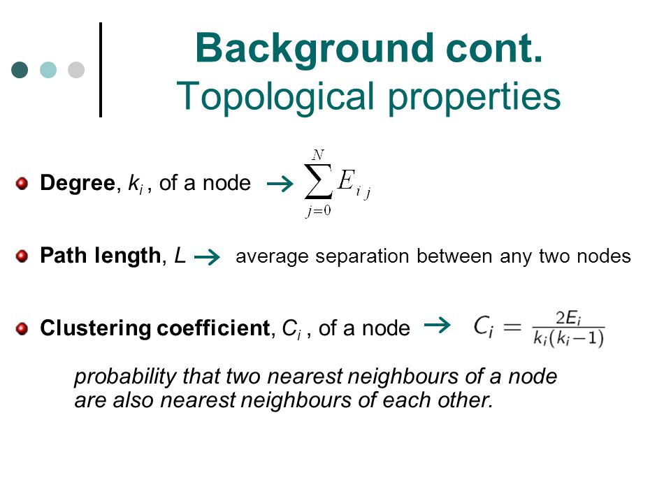 Background cont. Topological properties