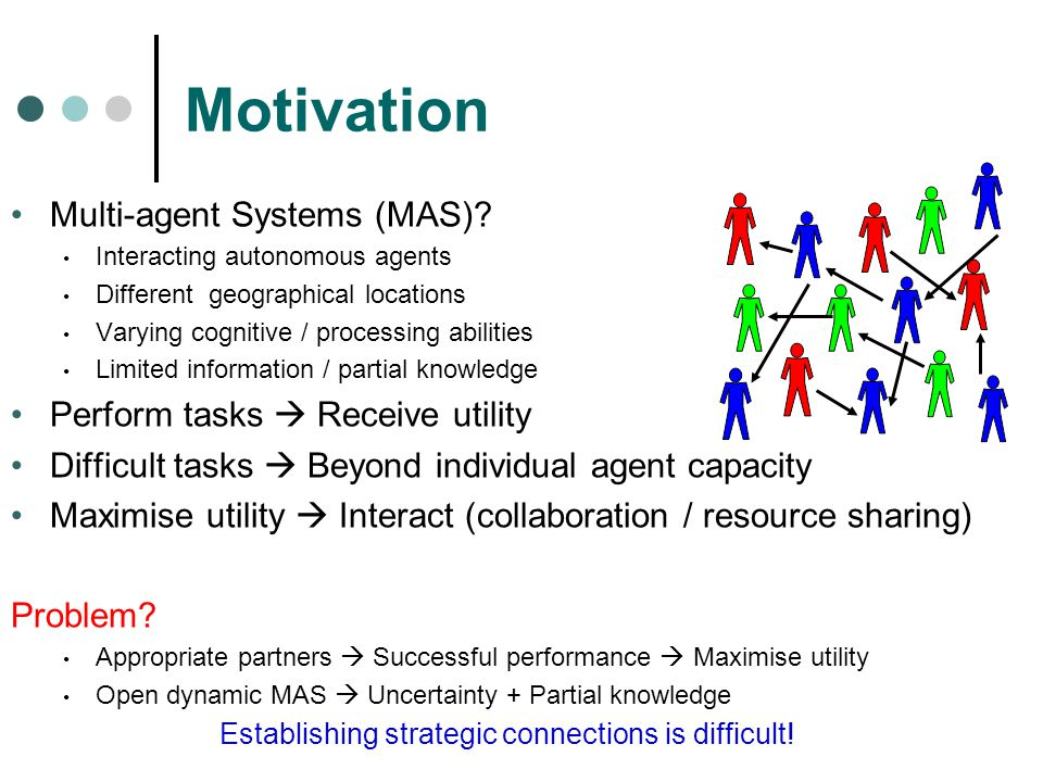 Motivation Multi-agent Systems (MAS) Perform tasks  Receive utility