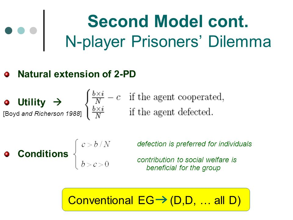 Second Model cont. N-player Prisoners' Dilemma