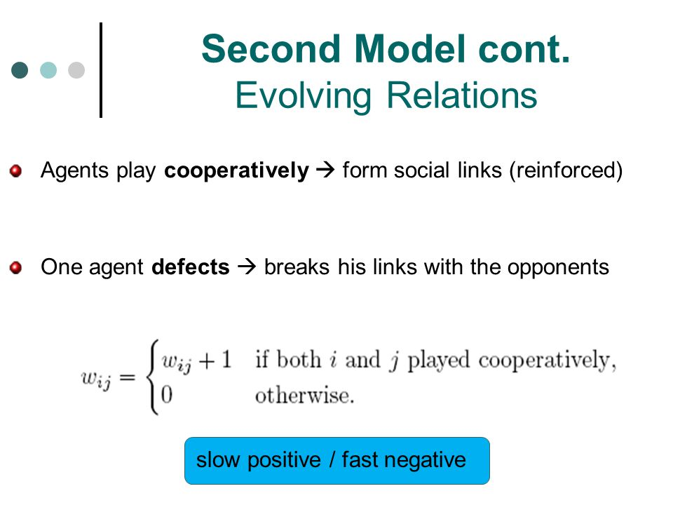 Second Model cont. Evolving Relations