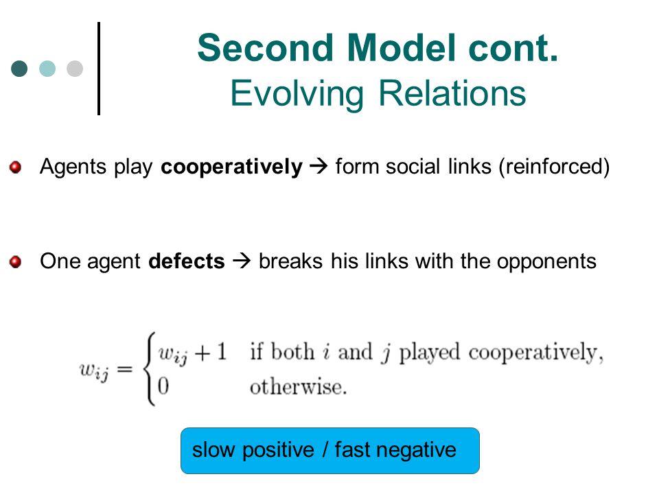 Second Model cont. Evolving Relations