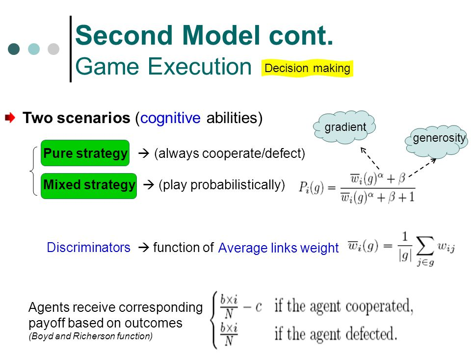 Second Model cont. Game Execution