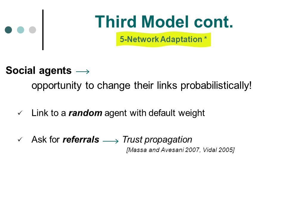 Third Model cont. opportunity to change their links probabilistically!