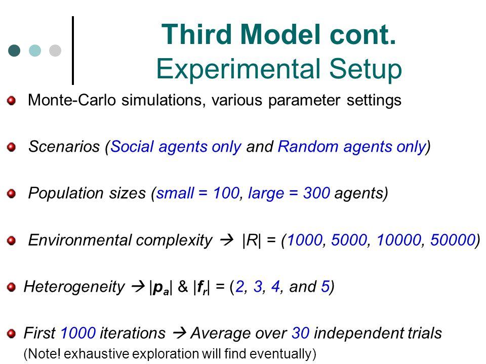 Third Model cont. Experimental Setup
