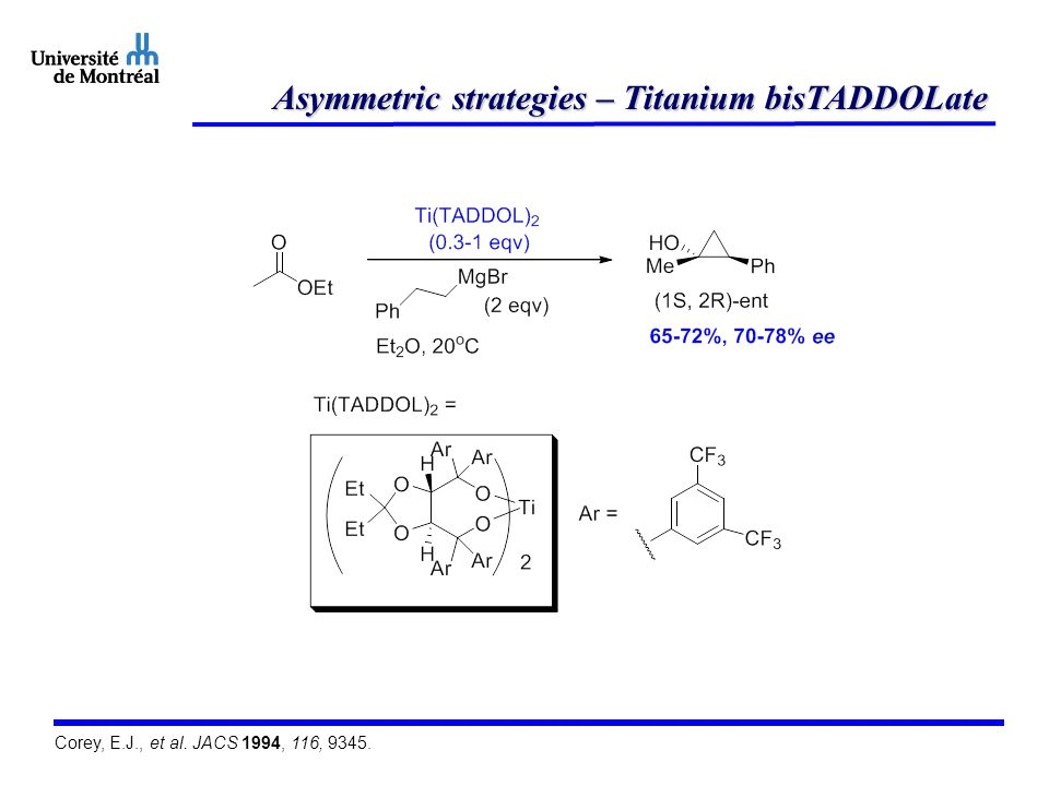 Asymmetric strategies – Titanium bisTADDOLate