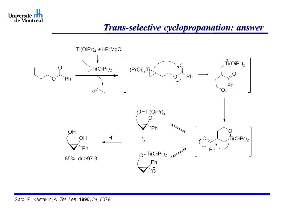 Trans-selective cyclopropanation: answer