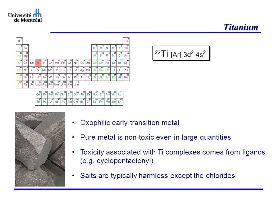 Titanium Oxophilic early transition metal