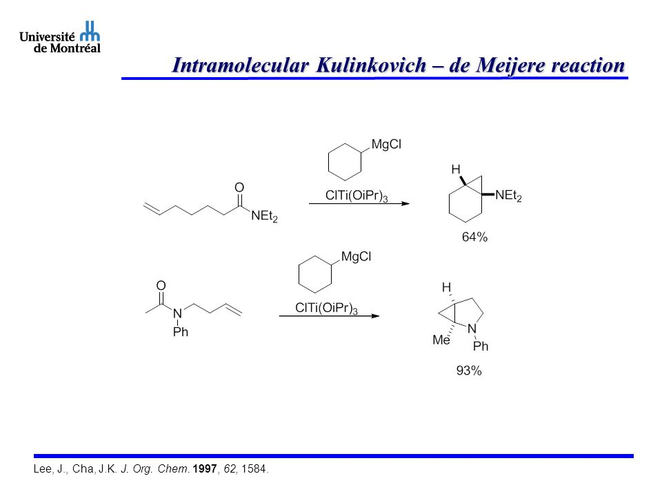Intramolecular Kulinkovich – de Meijere reaction