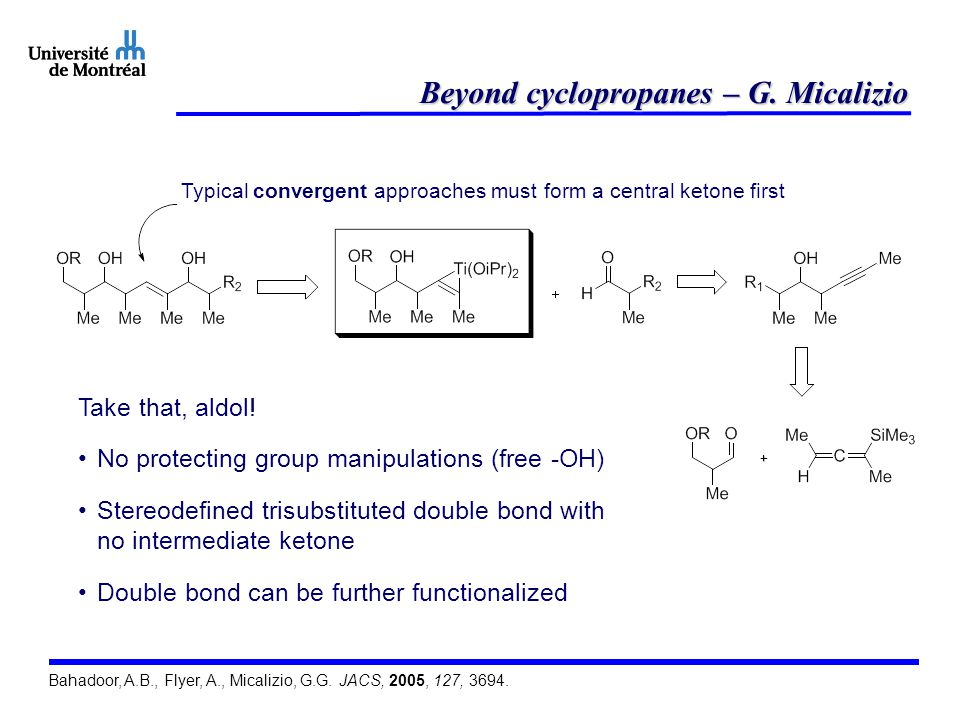 Beyond cyclopropanes – G. Micalizio