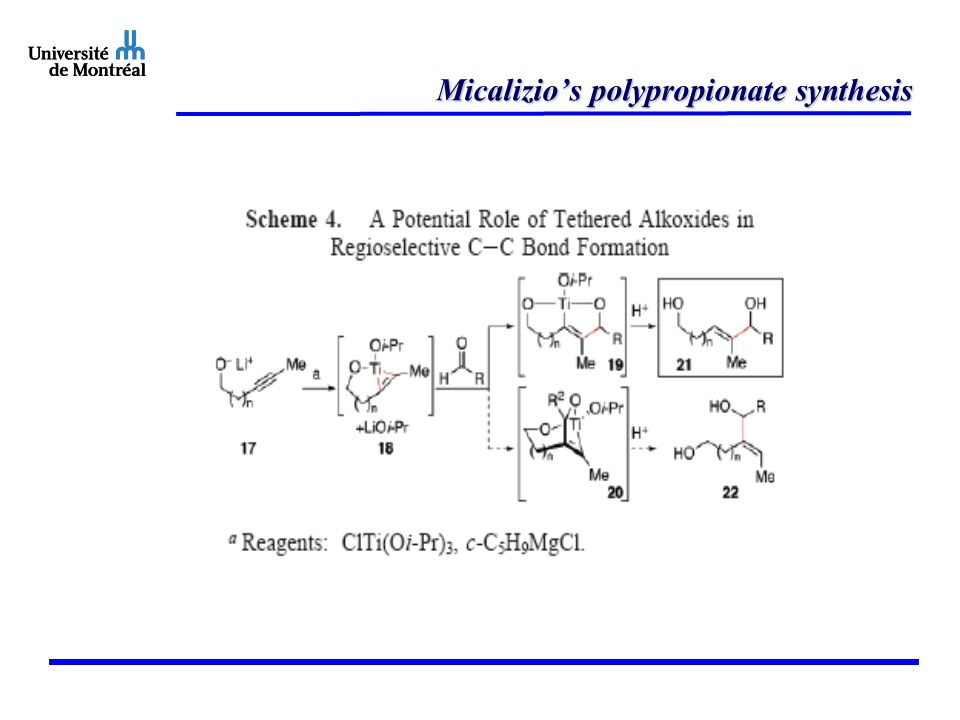 Micalizio's polypropionate synthesis