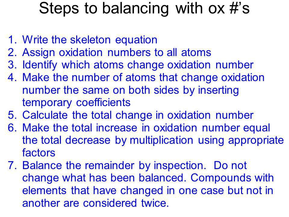 Steps to balancing with ox #'s