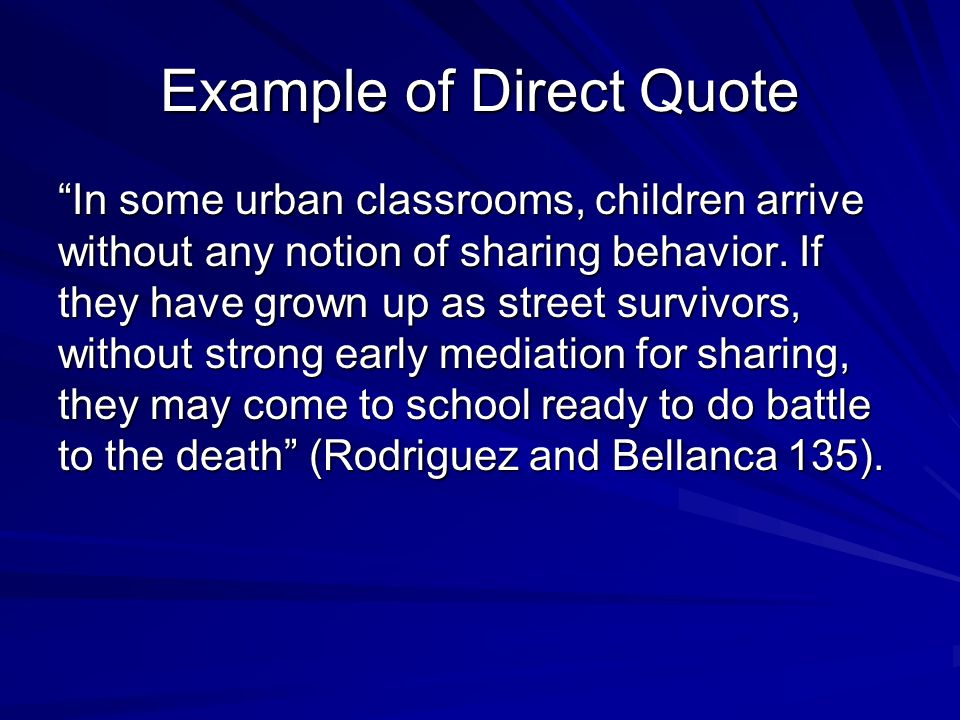 Example of Direct Quote