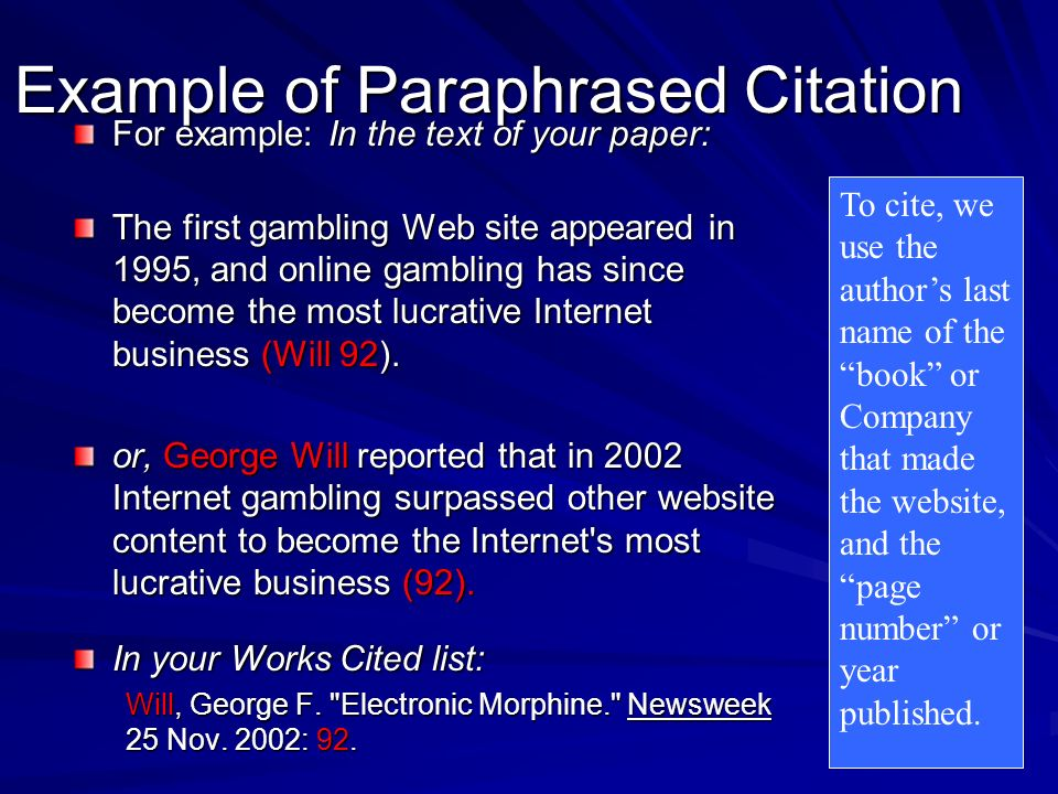 Example of Paraphrased Citation