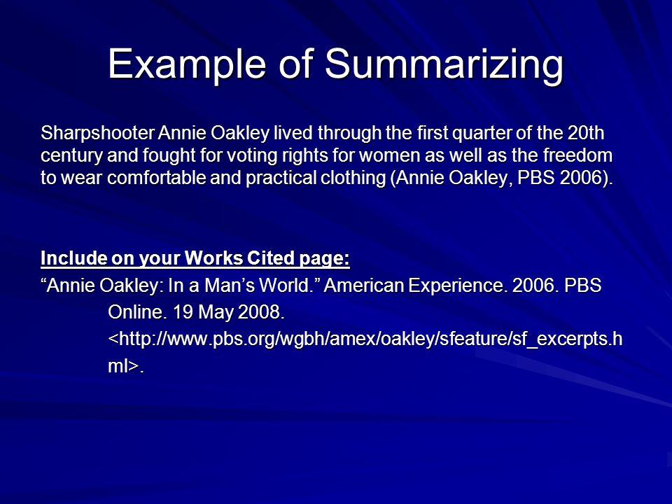 Example of Summarizing