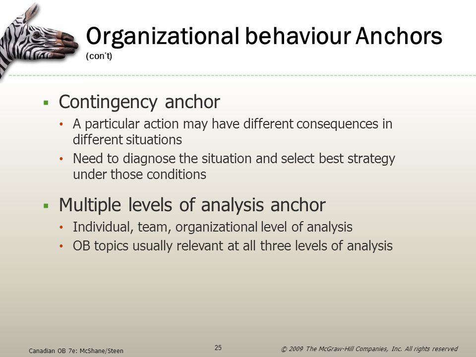Organizational behaviour Anchors (con't)