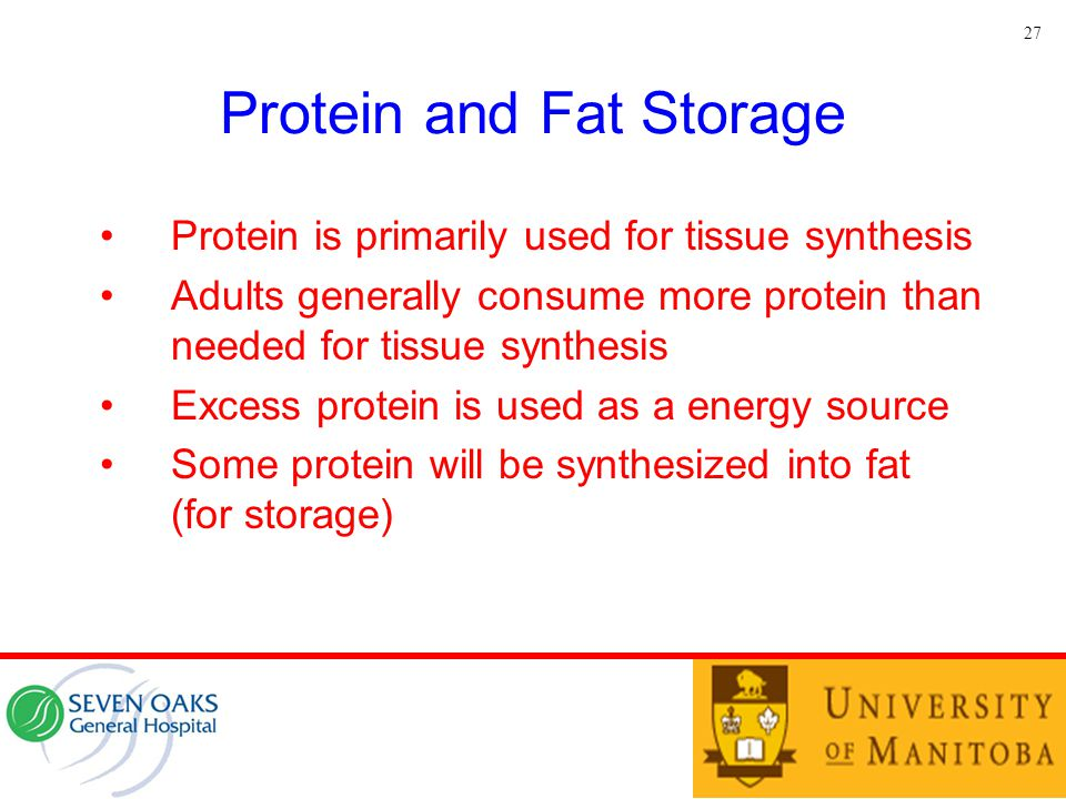 Protein and Fat Storage