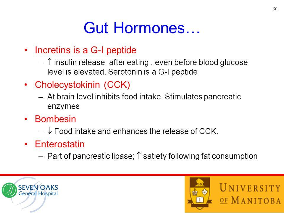 Gut Hormones… Incretins is a G-I peptide Cholecystokinin (CCK)