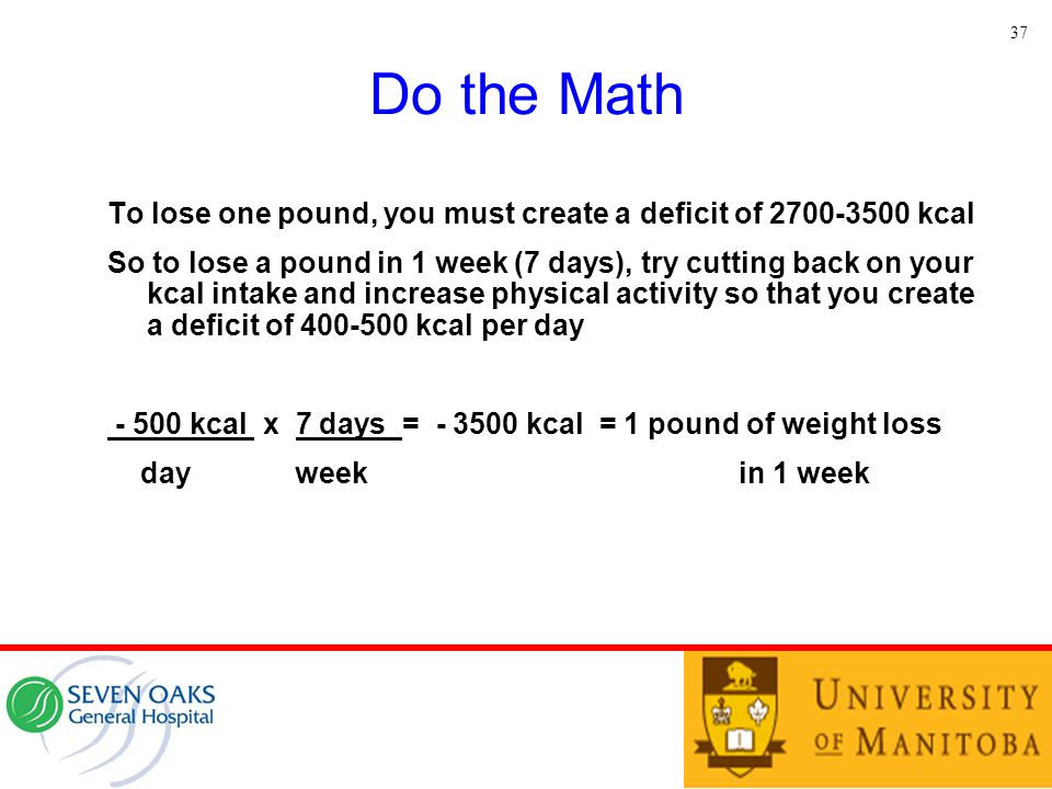 37 Do the Math. To lose one pound, you must create a deficit of 2700-3500 kcal.