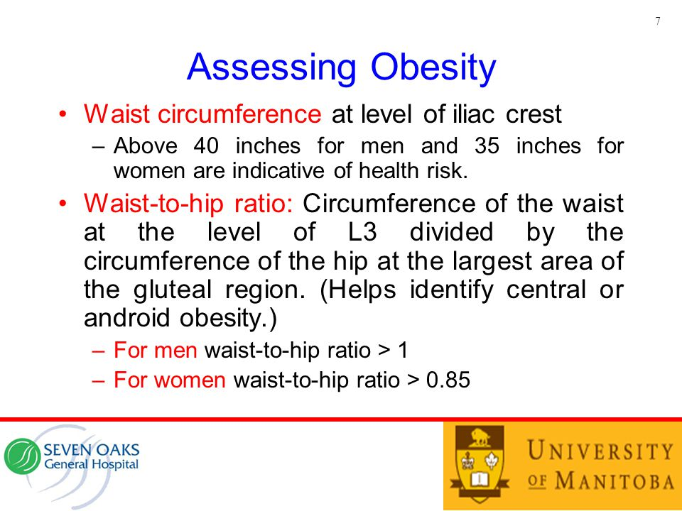 Assessing Obesity Waist circumference at level of iliac crest