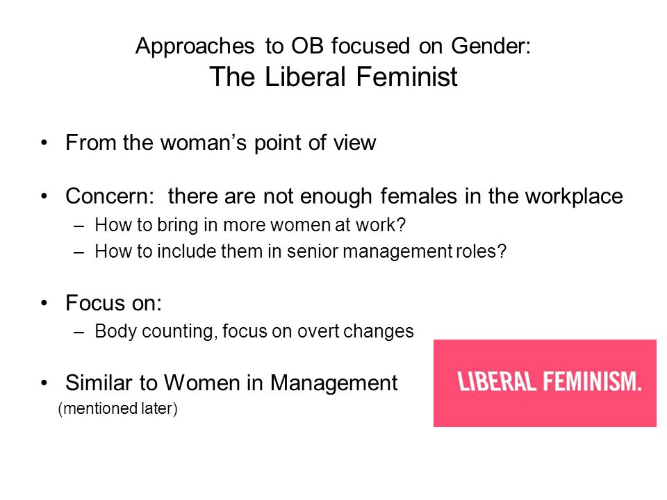 Approaches to OB focused on Gender: The Liberal Feminist