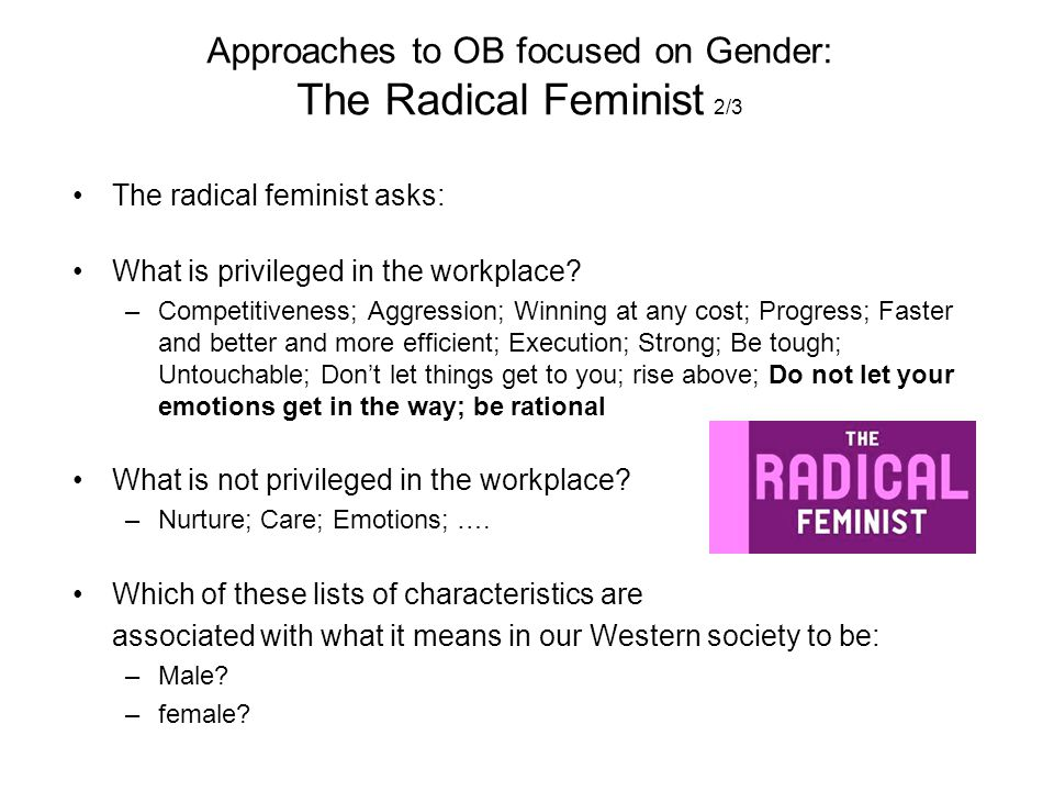 Approaches to OB focused on Gender: The Radical Feminist 2/3