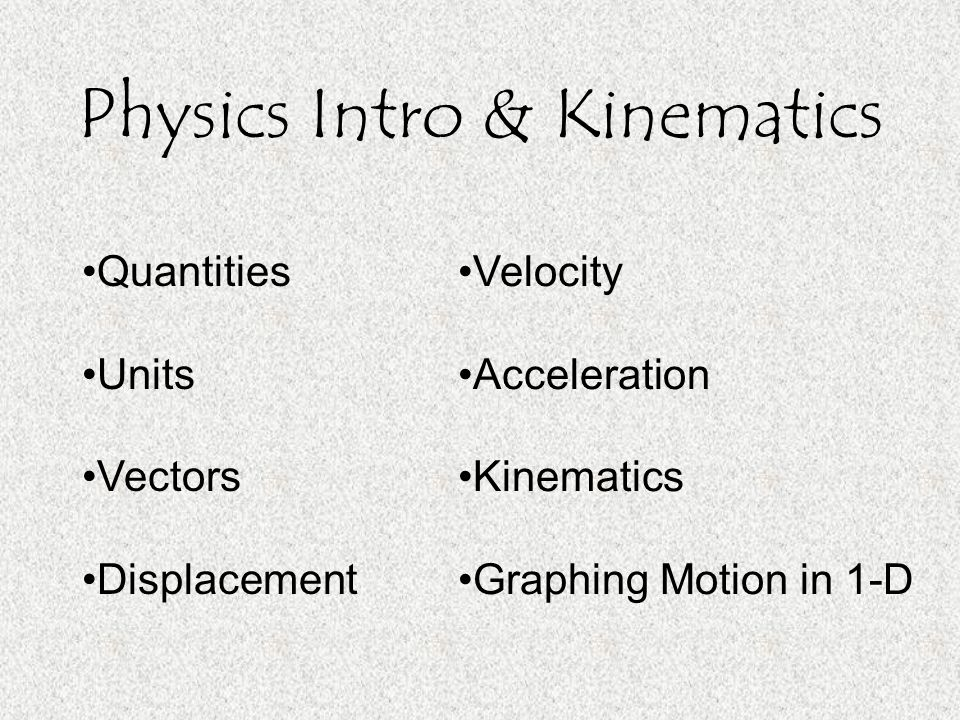Physics Intro & Kinematics