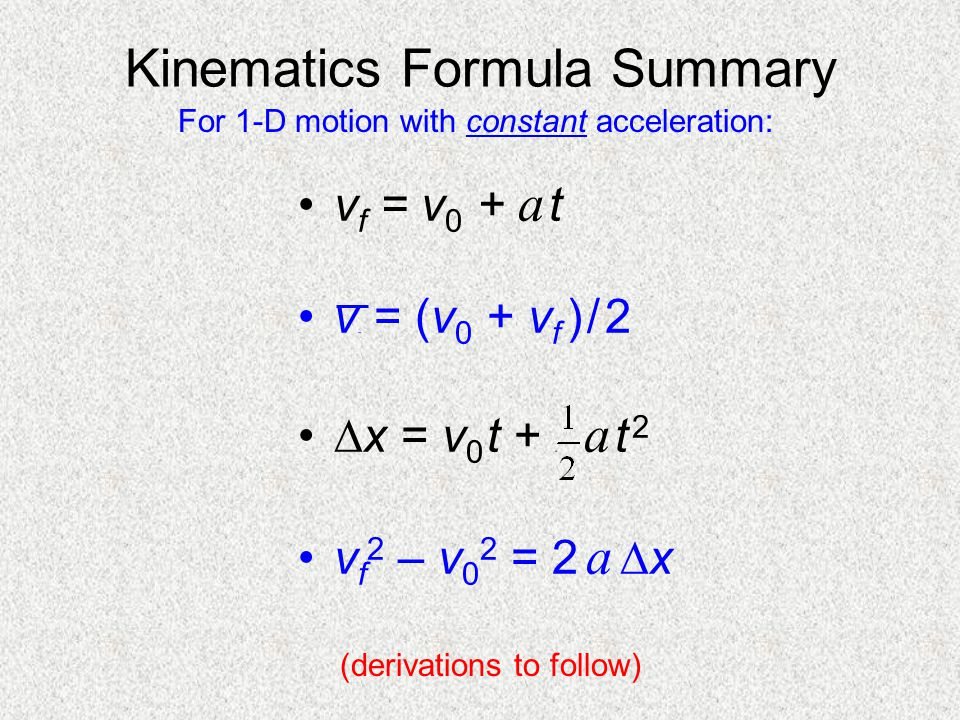 Kinematics Formula Summary