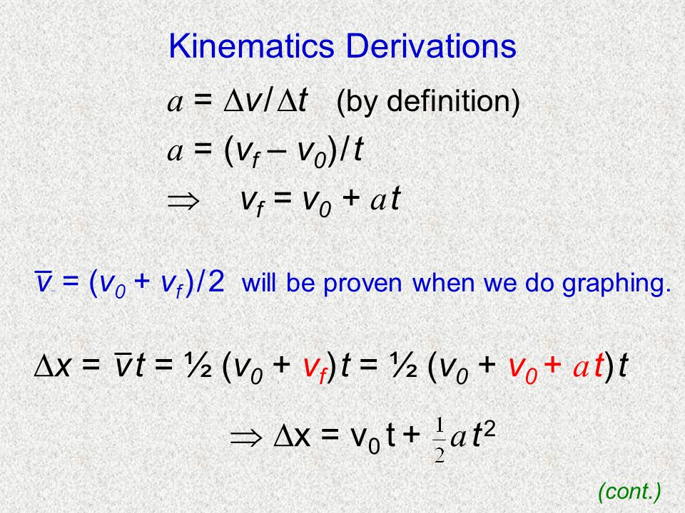 Kinematics Derivations