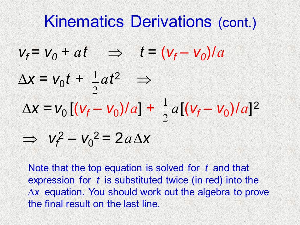 Kinematics Derivations (cont.)