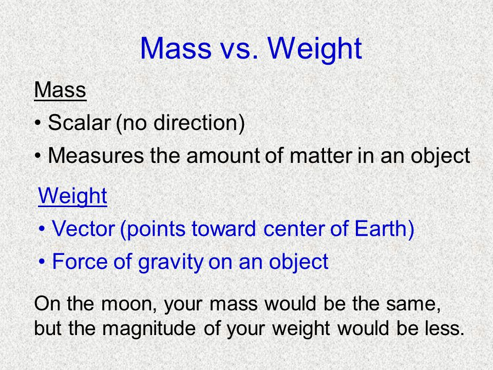 Mass vs. Weight Mass Scalar (no direction)