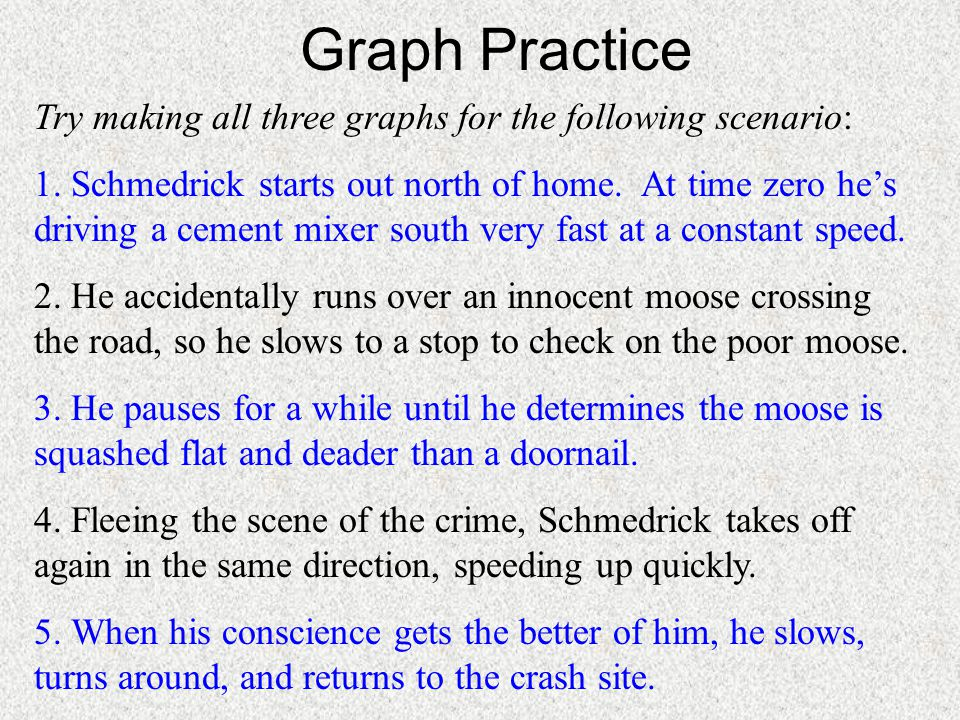 Graph Practice Try making all three graphs for the following scenario: