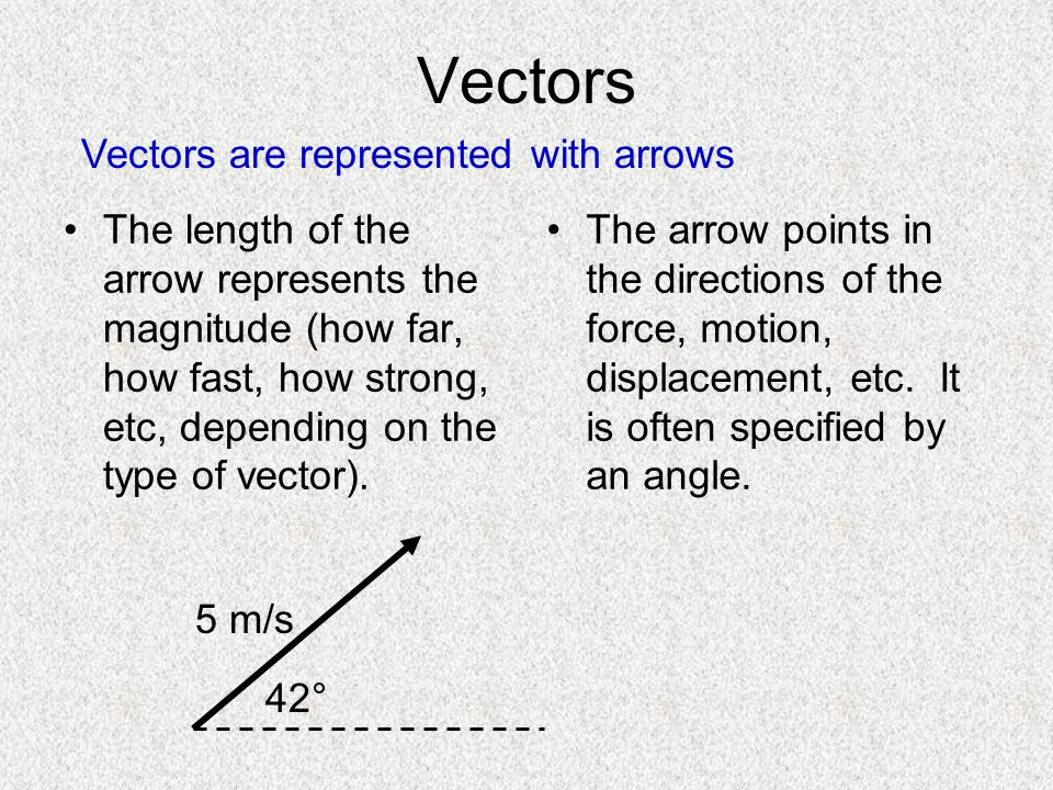 Vectors Vectors are represented with arrows
