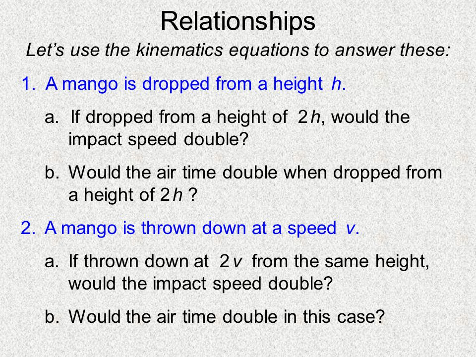 Let's use the kinematics equations to answer these: