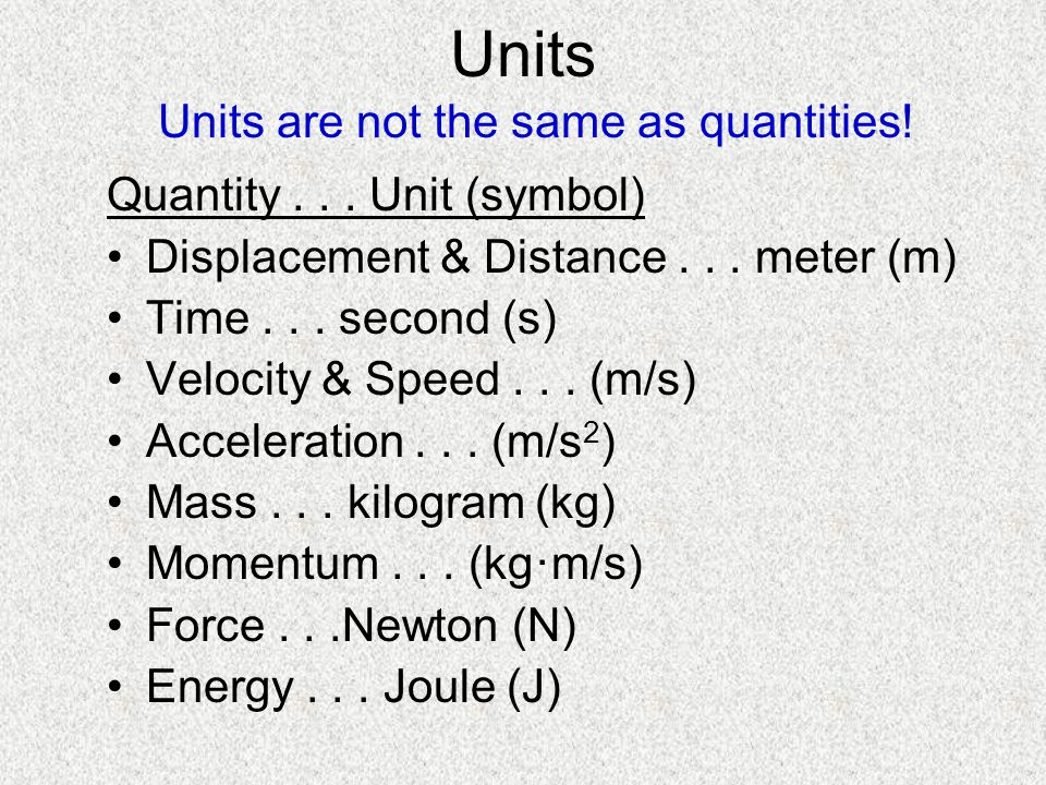 Units are not the same as quantities!