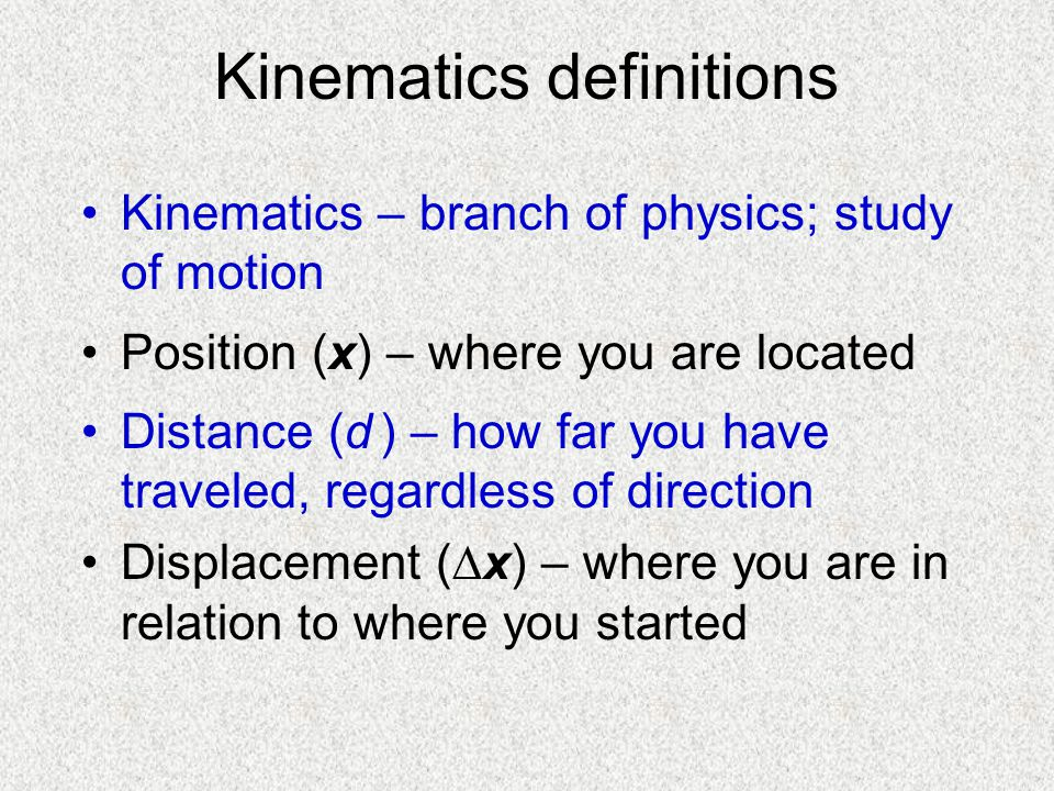 Kinematics definitions