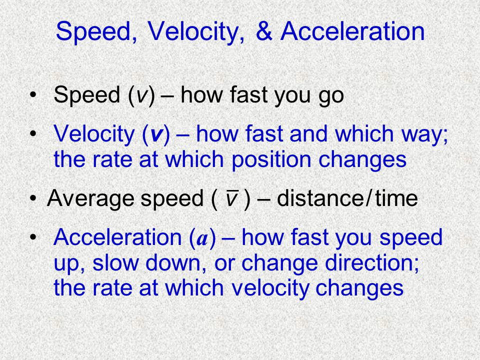 Speed, Velocity, & Acceleration