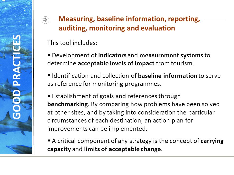 Measuring, baseline information, reporting, auditing, monitoring and evaluation
