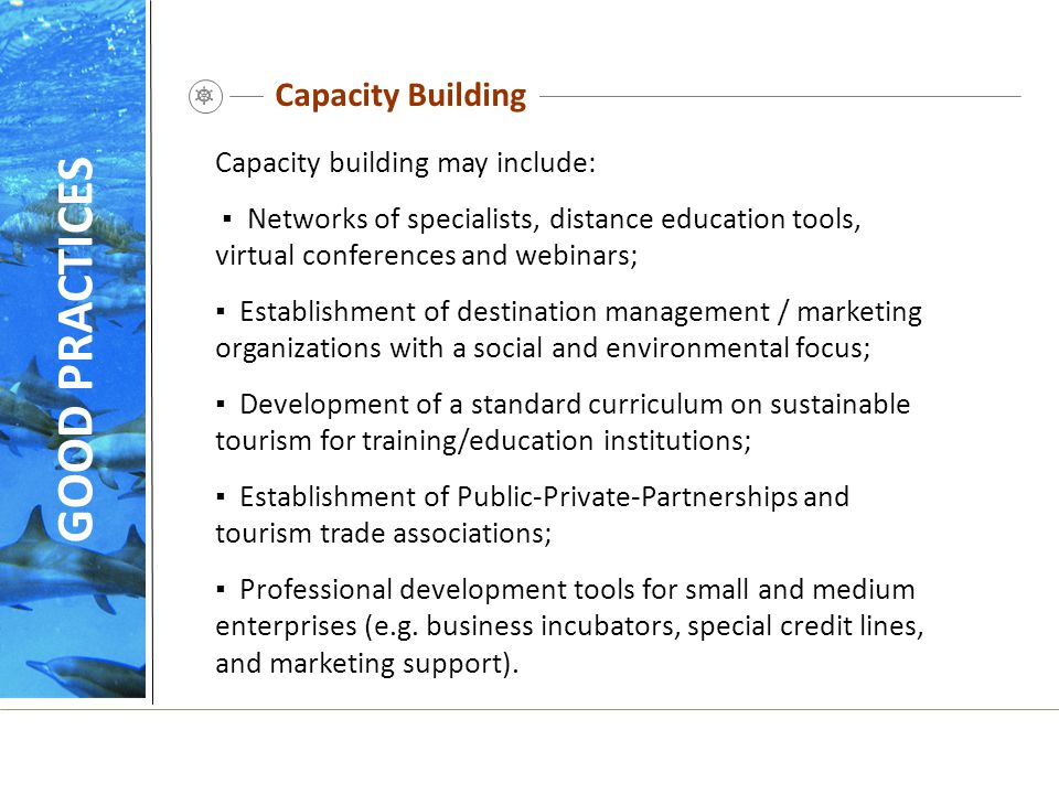 GOOD PRACTICES Capacity Building Capacity building may include: