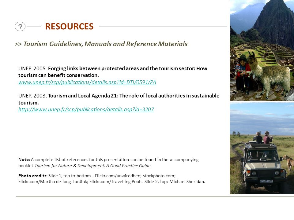 RESOURCES >> Tourism Guidelines, Manuals and Reference Materials.